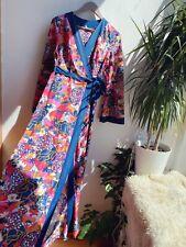 Vintage Retro 60s 70s Floral Kimono Style Hippy Wrap Dress