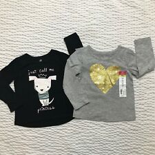Okie Dokie Girl's Bundle of 2 Tees New Size 24 Months Kids Toddlers Dog Heart