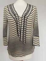 TORY BURCH Silk Blouse Top Sailor Inspiration Stripes 3/4 Sleeves UK 8-10 VGC