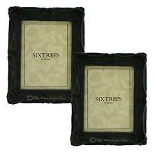 "TWINPACK Sixtrees Chelsea Shabby Chic Ornate Black Photo Frames 8""x 6"" Pictures"
