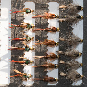 18 Gold Head Nymphs Trout Fly fishing Flies GRHE, Pheasant Tail & Copper John