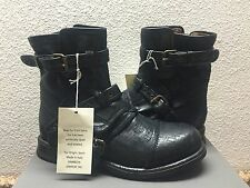 UGG COLLECTION ELISABETA WEAVE NERO BIKERS BOOTS USA 6 / EU 37 / UK 4.5 - NIB