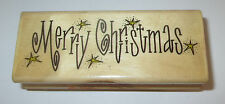 Merry Christmas Rubber Stamp Stars Holidays That's All She Stamped Retired Rare