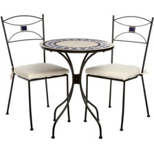 NEW 3PC IRON MOSAIC FURNITURE BISTRO SET OUTDOOR GARDEN TABLE CHAIRS PATIO FREE