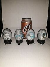 """Decorative Eggs 4Pcs. Polished Stone Marble Alabaster Agate Etched 2 3/4"""""""