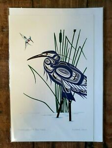 "HUMMINGBIRD & BLUE HERON  6"" x 9"" art card by Richard Shorty  Free Shipping #974"