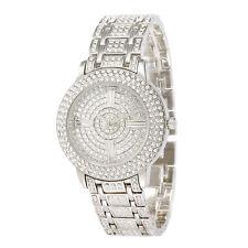 Alias Kim Full Bling Silver Crystal Face Womens Lady Quatz Bracelet Wrist Watch