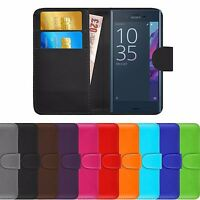 Premium Luxury Leather Flip Wallet Book Ultra Slim Case Cover For Sony Xperia XZ