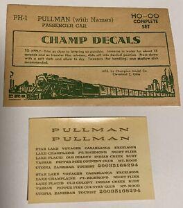 CHAMP HO DECAL - PULLMAN PASSENGER CAR w/CAR NAMES - BRONZE GOLD - ITEM #PH-1