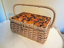 Vintage Sewing Basket Woven Retro Roses & Daisies 9 x 6 x 4 Japan Dritz