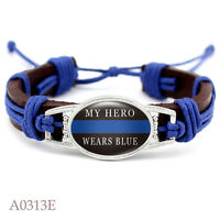 "Police Wife My Hero Wears Blue Leather Band Strap Brown Bracelet 7.5"" 8.5"""