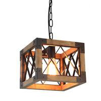 Wood Metal Chandelier Square Pendant light Kitchen Edison Hanging Light Fixture