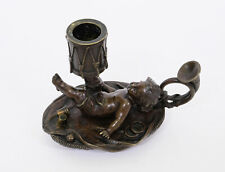Antique 19th Century Bronze Sculpture Candle Holder Playing Child