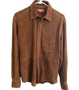 Faconnable Brown Leather Suede Button Front Shirt - Mens Size Small