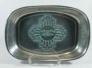 "Wilton Armetale Zia Turquoise Pewter Holloware 9 1/4"" Bread Tray Platter"
