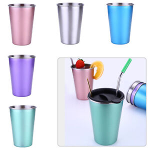 450ML Stainless Steel Cup Mug Drinking Coffee Beer Tumbler For Camping Travel