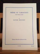 Olivier Messiaen Thème et variations pour violon et piano partition Leduc