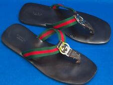 GUCCI LEATHER FLIP FLOPS FLATS DARK BROWN GG LOGO SIZE US 7-8