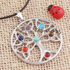Silver Plated 7 Gemstone Beads Chakra Healing Reiki Energy Point Pendant Jewelry