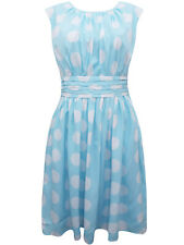 Dickins & Jones BLUE Pleated Waist Spot Print Dress