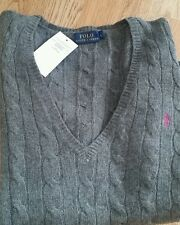 Ralph Lauren Ladies Grey Large Wool Jumper with Pink pony £210 10% Cashmere