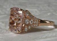 3Ct Cushion Cut Morganite Diamond Solitaire Engagement Ring 14K Rose Gold Finish