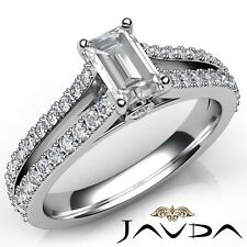 1.75ctw Prong Split Shank Emerald Diamond Engagement Ring Gia D-Vs1 White Gold