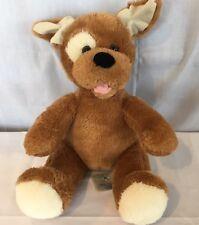"Build A Bear BABW Brown Dog Plush 11"" Stuffed Animal Sitting White Eye Patch"