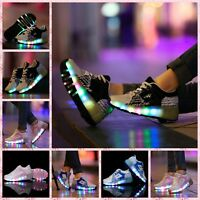 LED Sneakers for Kids Junior Girls Boys Light Up Roller Skate Shoes with Wheels