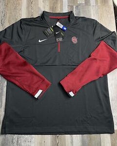 NEW Men's Nike ONFIELD Oklahoma Sooners Long Sleeve 1/4 Zip Shirt Sz LARGE Mens
