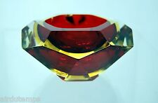 PHOTOPHORE COUPELLE à bougie VERRE MURANO SOMERSO rouge jaune clair ANCIENNE