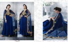 Navy Blue Georgette Cape-Style Salwar. Embroidered. Size 42.
