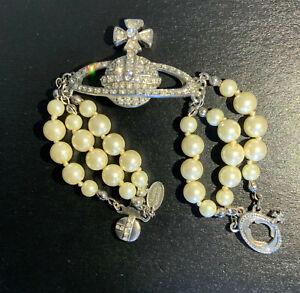 Pearl and Rhinestone Vivienne Westwood Style Bracelet