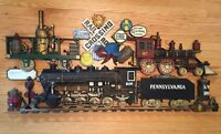 "Vintage 1973 Large 43"" Burwood Erie Pennsylvania Train Railroad Wall Decor Sign"