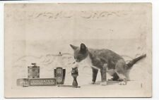 Rare 1910 RPPC Postcard of Cat Shaving with Colgate's Shaving Products
