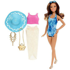 Barbie Glam Vacation Doll in Blue Trendy Tie-Dye Swimsuit by Mattel (DGY76)