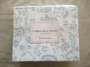 NWT 4pc Cabbages & Roses Queen Sheet Set French Toile Blue and White