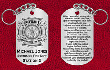 Firefighter Steel Keychain with Prayer, Personalized FREE, Great Gift, Engraved