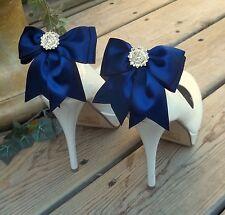 Bridal shoe clips Navy Blue satin crystal rhinestones Bridesmaids shoe clips NEW