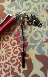 Red stylus owl charm crystal bead ear bud dust cover handmade