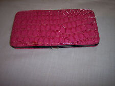 Flat Wallet, Embossed Patent Leather-Like. Pink