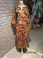 Women's Vintage 60's 70's Barkcloth Cotton Persian Floral Caftan Dress M