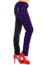 Check Half Black Split Leg Trousers by BANNED SKINNY Pants 8 10 12 14 16 Purple 32 (uk 14)