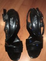 Franco Sarto Sandals Women's Size 8.5 Soft Black Leather w/ Cork Heel