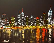 Art Print of Oil Painting by Dave New York Cityscape Light Empire State Building