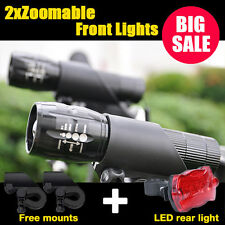 2X CREE Q5 LED Mountain Bike Bicycle Cycle Zoomable Front Lights + Rear Lamp SET