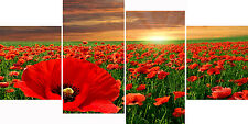 Sunset Poppies Red Flowers Floral Multi 4 Panel Canvas Picture Wall Art Print