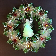 Vintage Cordless Christmas Luminous Angel Acrylic Wreath With LED Lights