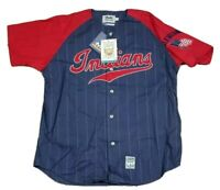 Vtg Cleveland Indians MLB Mirage Cooperstown Collection Pinstripe Jersey NEW XL