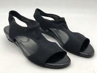 Stuart Weitzman Sandals Shoes Black Leather Comfort Wedge Heels Women's Size 9